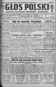 Głos Polski : dziennik polityczny, społeczny i literacki 7 luty 1927 nr 37