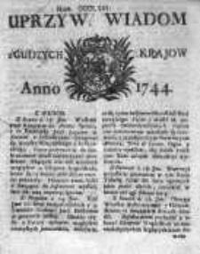 Uprzywilejowane Wiadomości z Cudzych Krajów 1744, Nr 366