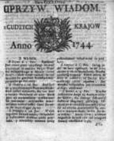 Uprzywilejowane Wiadomości z Cudzych Krajów 1744, Nr 368