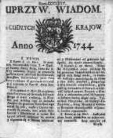 Uprzywilejowane Wiadomości z Cudzych Krajów 1744, Nr 375