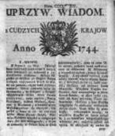 Uprzywilejowane Wiadomości z Cudzych Krajów 1744, Nr 384