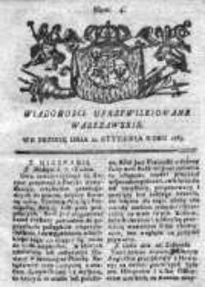 Wiadomości Uprzywilejowane Warszawskie 1763, Nr 4