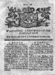 Wiadomości Uprzywilejowane Warszawskie 1763, Nr 46