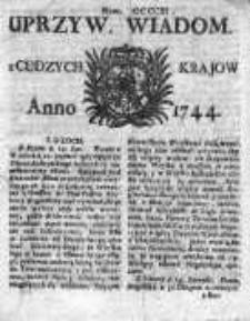 Uprzywilejowane Wiadomości z Cudzych Krajów 1744, Nr 411
