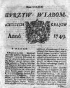 Uprzywilejowane Wiadomości z Cudzych Krajów 1749, Nr 681