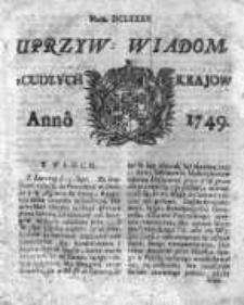 Uprzywilejowane Wiadomości z Cudzych Krajów 1749, Nr 682