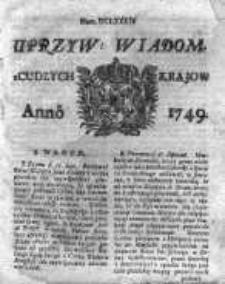 Uprzywilejowane Wiadomości z Cudzych Krajów 1749, Nr 684
