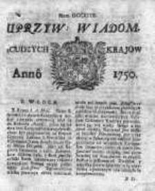 Uprzywilejowane Wiadomości z Cudzych Krajów 1750, Nr 718
