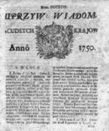 Uprzywilejowane Wiadomości z Cudzych Krajów 1750, Nr 726