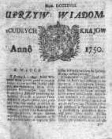 Uprzywilejowane Wiadomości z Cudzych Krajów 1750, Nr 728