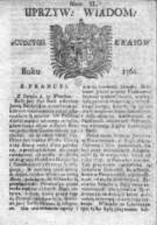 Uprzywilejowane Wiadomości z Cudzych Krajów 1760, Nr 40