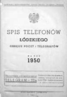 Spis Telefonów Łódzkiego Okręgu Poczt i Telegrafów na rok 1950
