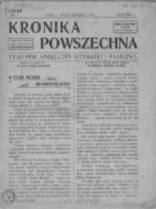 Kronika Powszechna. Tygodnik społeczny literacki i naukowy, 1910, R.1, Nr1