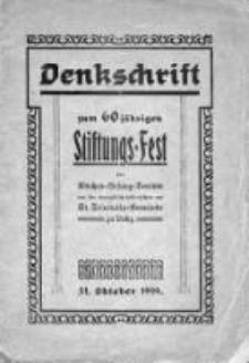 Dankeschrift zum 60jährigen Stiftungs-Fest des Kirchen-Gesang-Vereins der Evangelisch-Lutherischen St. Trinitatis-Gemeinde zu Lodz
