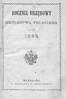 Rocznik Urzędowy Królestwa Polskiego : na rok 1863