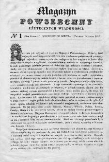 Magazyn Powszechny : dziennik użytecznych wiadomości. 1837, nr 1
