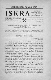 Iskra : miesięcznik poświęcony sprawom wstrzemięźliwości i wychowania narodowego. 1910, nr 1