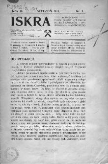 Iskra : miesięcznik poświęcony sprawom wstrzemięźliwości i wychowania narodowego. 1911, nr 1