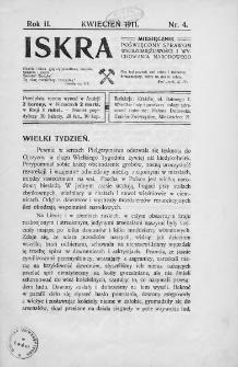 Iskra : miesięcznik poświęcony sprawom wstrzemięźliwości i wychowania narodowego. 1911, nr 4