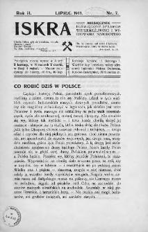 Iskra : miesięcznik poświęcony sprawom wstrzemięźliwości i wychowania narodowego. 1911, nr 7