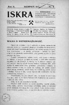 Iskra : miesięcznik poświęcony sprawom wstrzemięźliwości i wychowania narodowego. 1911, nr 8