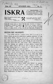 Iskra : miesięcznik poświęcony sprawom wstrzemięźliwości i wychowania narodowego. 1912, nr 1