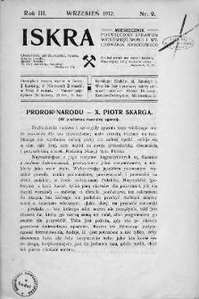 Iskra : miesięcznik poświęcony sprawom wstrzemięźliwości i wychowania narodowego. 1912, nr 9