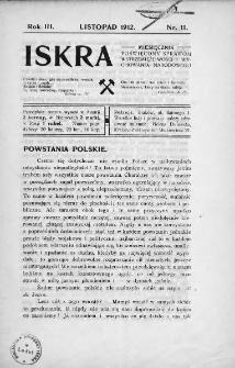 Iskra : miesięcznik poświęcony sprawom wstrzemięźliwości i wychowania narodowego. 1912, nr 11