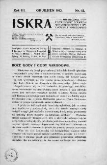 Iskra : miesięcznik poświęcony sprawom wstrzemięźliwości i wychowania narodowego. 1912, nr 12