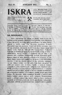 Iskra : miesięcznik poświęcony sprawom wstrzemięźliwości i wychowania narodowego. 1913, nr 1