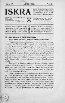 Iskra : miesięcznik poświęcony sprawom wstrzemięźliwości i wychowania narodowego. 1913, nr 2