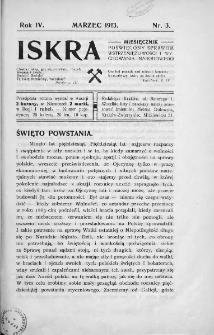 Iskra : miesięcznik poświęcony sprawom wstrzemięźliwości i wychowania narodowego. 1913, nr 3
