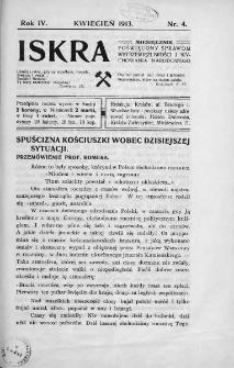 Iskra : miesięcznik poświęcony sprawom wstrzemięźliwości i wychowania narodowego. 1913, nr 4