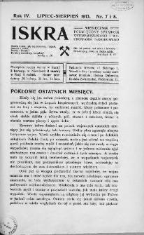 Iskra : miesięcznik poświęcony sprawom wstrzemięźliwości i wychowania narodowego. 1913, nr 7-8