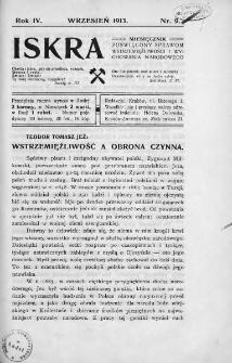 Iskra : miesięcznik poświęcony sprawom wstrzemięźliwości i wychowania narodowego. 1913, nr 9