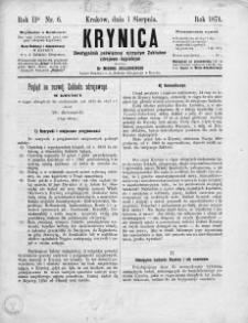 Krynica : dwutygodnik poświęcony ojczystym zakładom zdrojowo-kąpielowym. 1874, nr 6