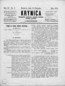 Krynica : dwutygodnik poświęcony ojczystym zakładom zdrojowo-kąpielowym. 1874, nr 7