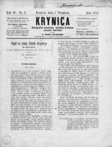 Krynica : dwutygodnik poświęcony ojczystym zakładom zdrojowo-kąpielowym. 1874, nr 8