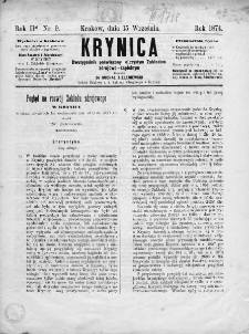 Krynica : dwutygodnik poświęcony ojczystym zakładom zdrojowo-kąpielowym. 1874, nr 9