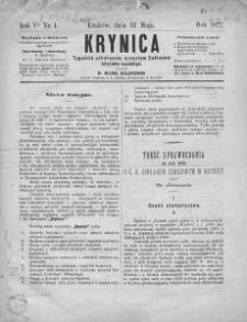 Krynica : tygodnik poświęcony ojczystym zakładom zdrojowo-kąpielowym. 1877, nr 1
