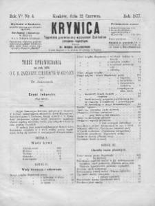 Krynica : tygodnik poświęcony ojczystym zakładom zdrojowo-kąpielowym. 1877, nr 4