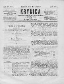 Krynica : tygodnik poświęcony ojczystym zakładom zdrojowo-kąpielowym. 1877, nr 5