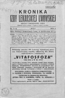 Kronika Izby Lekarskiej Lwowskiej : organ urzędowy Izby. 1931. Nr 7-8