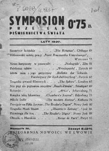 Symposion : przegląd piśmiennictwa świata. 1937. Zesz. 2