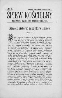 Śpiew Kościelny : miesięcznik poświęcony muzyce kościelnej. 1896, nr 4