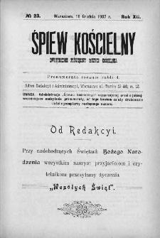 Śpiew Kościelny : miesięcznik poświęcony muzyce kościelnej. 1907, nr 23