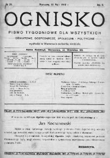 Ognisko : pismo miesięczne obrazkowe dla wszystkich. 1913, nr 20