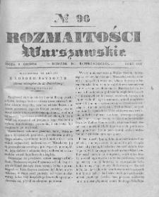Rozmaitości Warszawskie : pismo dodatkowe do Gazety Korrespondenta Warszawskiego. 1837. Nr 96