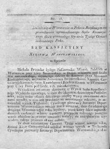 Dziennik Dekretów Sądu Kassacyinego Xięstwa Warszawskiego. T. I. 1810, nr 15