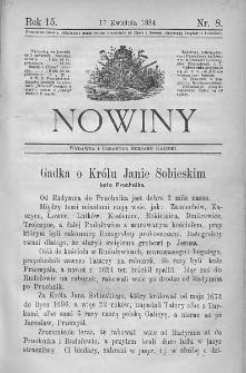 Nowiny. Czasopismo ludowe ku nauce i rozrywce dla starszych i dzieci. 1884. Nr 8